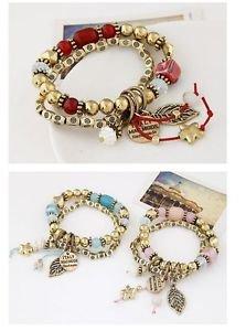 Bohemian Gold Plated Charm Bracelet