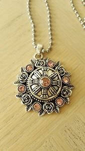 Pink Crystal Snap Button Pendant - USA Shipping