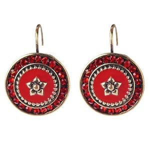 Red Enamel Vintage Gold Plated Clip On Stud Earrings - USA Shipping