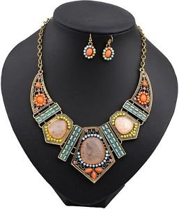 Gold Plated Multi-colored Necklace and Earrings Set - USA Shipping