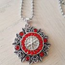 Red Crystal Snap Button Pendant - USA Shipping