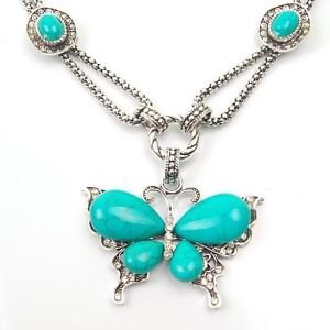 Vintage Natural Chain Turquoise Tribal Butterfly Tibetan Silver Pendant Necklace