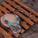 Tibetan Silver Turquoise Big Flower Pendant Necklace