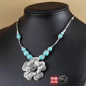 LARGE SILVER FLOWER CHOKER WITH TURQUOISE BEADS