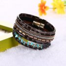Boho Bamboo Gravel Leather Bracelets Bangles  Magnetic Buckle Wrap Crystal  Brac