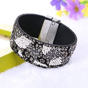 Leather Bracelet With Rhinestone Crystal Beads Magnetic Clasp Bangles