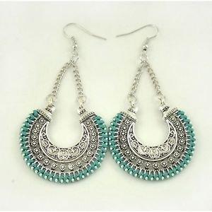 LONG ETHNIC WEDDING EARRINGS-Turquoise