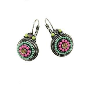 Vintage Silver 2 Color Beads Rhinestones Ethnic Stud Earrings