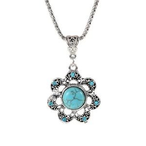 Turquoise And Tibetan Silver Pendant - USA Shipping