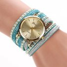 Blue Geneva Bracelet Watch Women Wrap Around Quartz Wrist Watch - USA Shipping