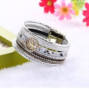 Multilayer leather bracelet rhinestone wrap Bracelet  Magnet Clasp Tree  Of Life