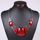 Resin Red Jewelry Set Geometric Square Statement Necklace Set