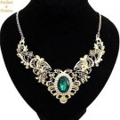 Gold Plate Hollow Out Crystal Statement Necklace