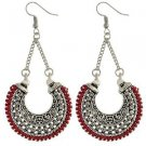 Long Ethnic Silver And Red Drop Earrings