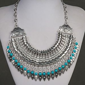 Gypsy Ethnic Choker With Turquoise Beads - USA Shipping