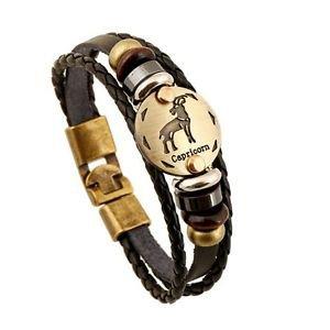 Leather And Gold Zodiac Bracelet-Capicorn