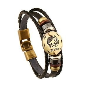 LEATHER AND GOLD ZODIAC BRACELET-Pisces