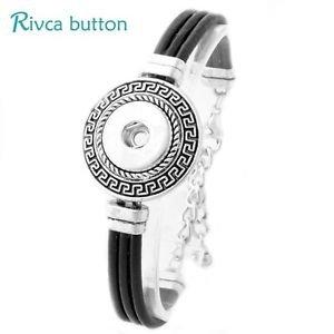 Snap Button Antique Silver/Leather Bracelet