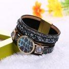 Elegant Crystal Charm Multilayer Leather Magnet Buckle Bracelets