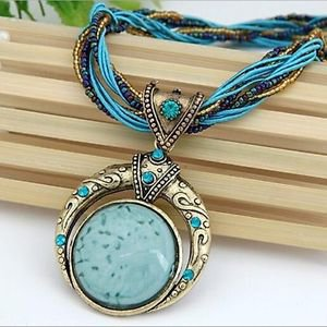 Bohemia Style Multilayer Beads Chain Crystal Gem Pendant Necklace