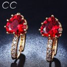 Rose gold plated red heart stud earring CZ