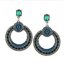 ELEGANT BOHEMIAN SILVER WITH BLUE RHINESTONE EARRINGS