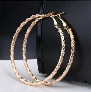 Large gold plated patterned hoop earrings