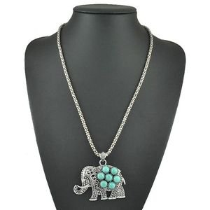 Antique Style Silver Turquoise Elephant Pendant Necklace - USA Shipping