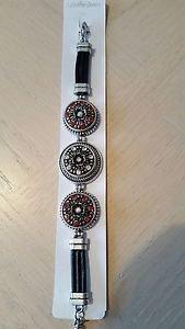 3 Snap Button Silver/Leather Bracelet - USA Shipping