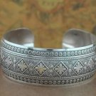 Tibetan Silver Square Flower Cuff Bangle