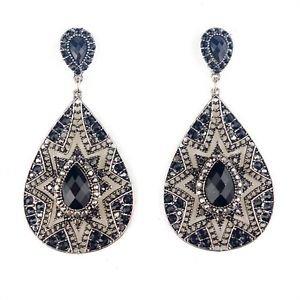 Large Silver/Black Drop Earrings