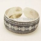 Gypsy Square Flower Metal Tibetan Silver Color Vintage Bracelet Bangle