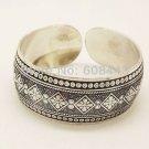 Gypsy Square Flower Metal Tibetan Silver Color Vintage Bracelet Bangle