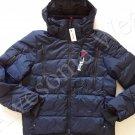 New Ralph Lauren RLX Nylon Navy Blue Hooded Winter Puffer Down Jacket sz L