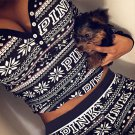 Women 2piece sweat suit pijama pants sweatshirt shirt vs pink