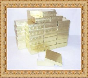 100 Gold Foil Cotton Filled Jewelry Display Gift Boxes 3 x 3