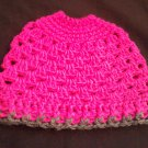 Crochet Messy Bun Pony Tail Beanie Hot Pink