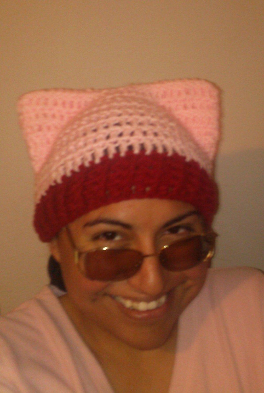 New Pink Crochet Kitty Hat, Pussy-hat, Cat Ears, Women's March