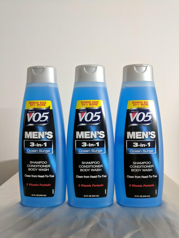 Three VO5 Men's Ocean Surge, 3-in-1, Shampoo-Conditioner-Body Wash