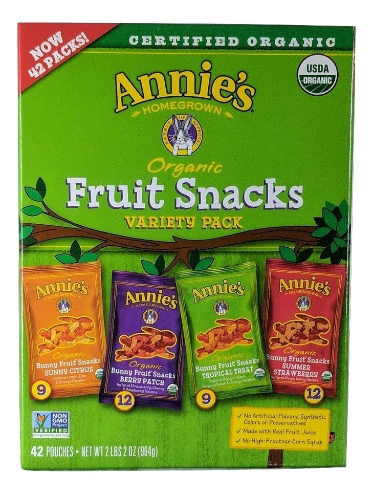 42 Variety Packs, Annie's Certified Organic Homegrown Fruit Snacks, Made With Real Fruit Juicce