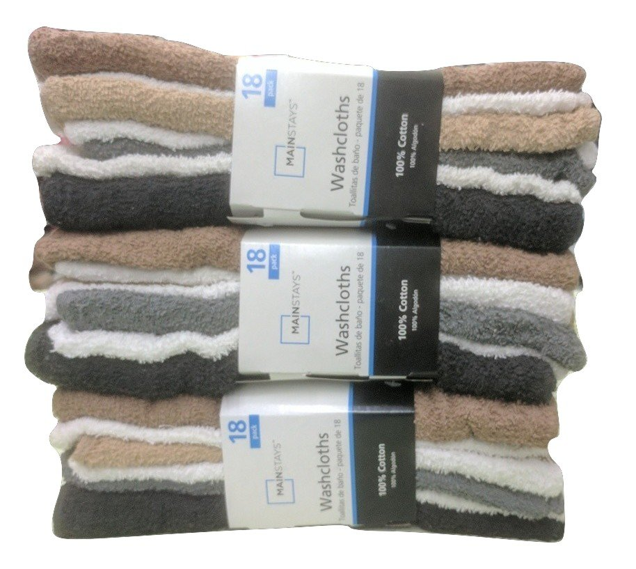 3 PACK Total 54 Pcs Mainstays 100% Cotton Washcloth Collection Assorted Colors
