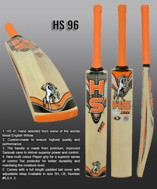 HS English Willow Cricket Bat HS 96 Weight From 2lb 7oz to 3lbs with free Grip+Protector.