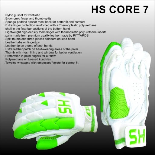HS CORE 7 Batting Gloves Made of Original Pittards Leather Available for LH & RH Batsman