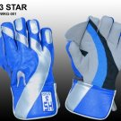 HS 3 STAR Premium quality pair of professional wicket-keeping glove made from quality leather