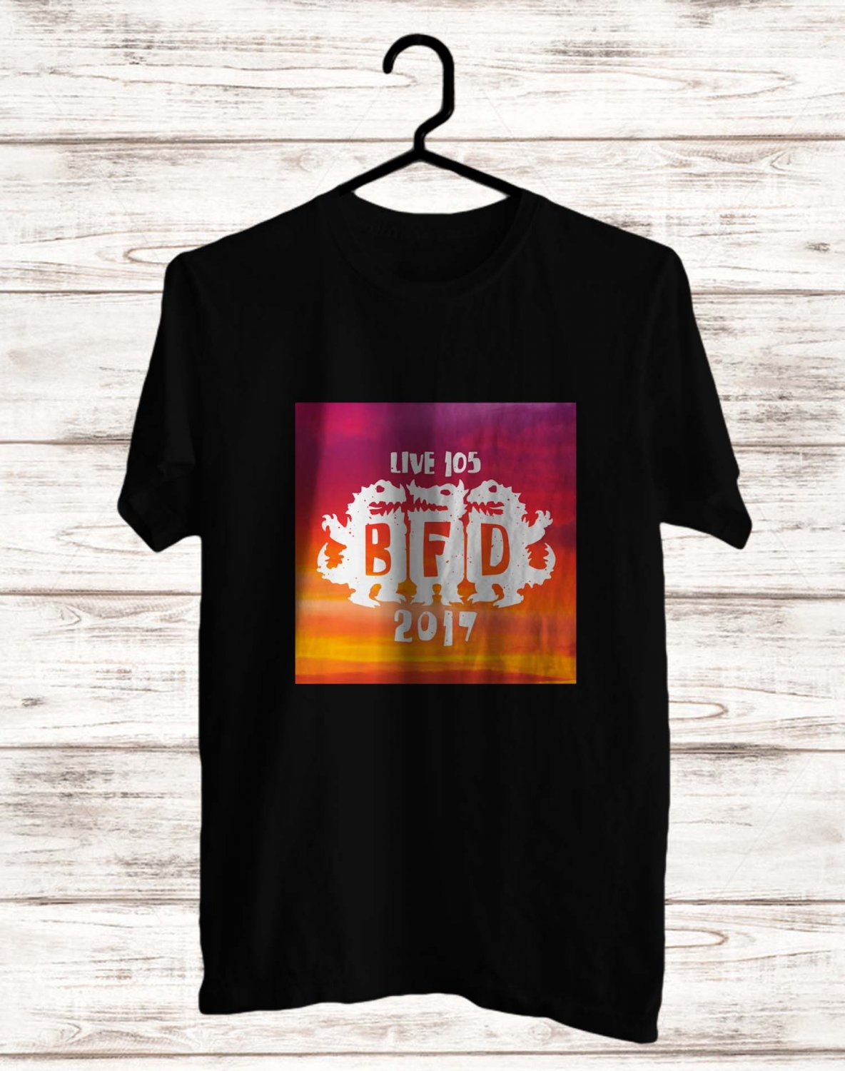 Live 105 BFD Festival Jun 2017 Black Tee's  Front Side by Complexart c2