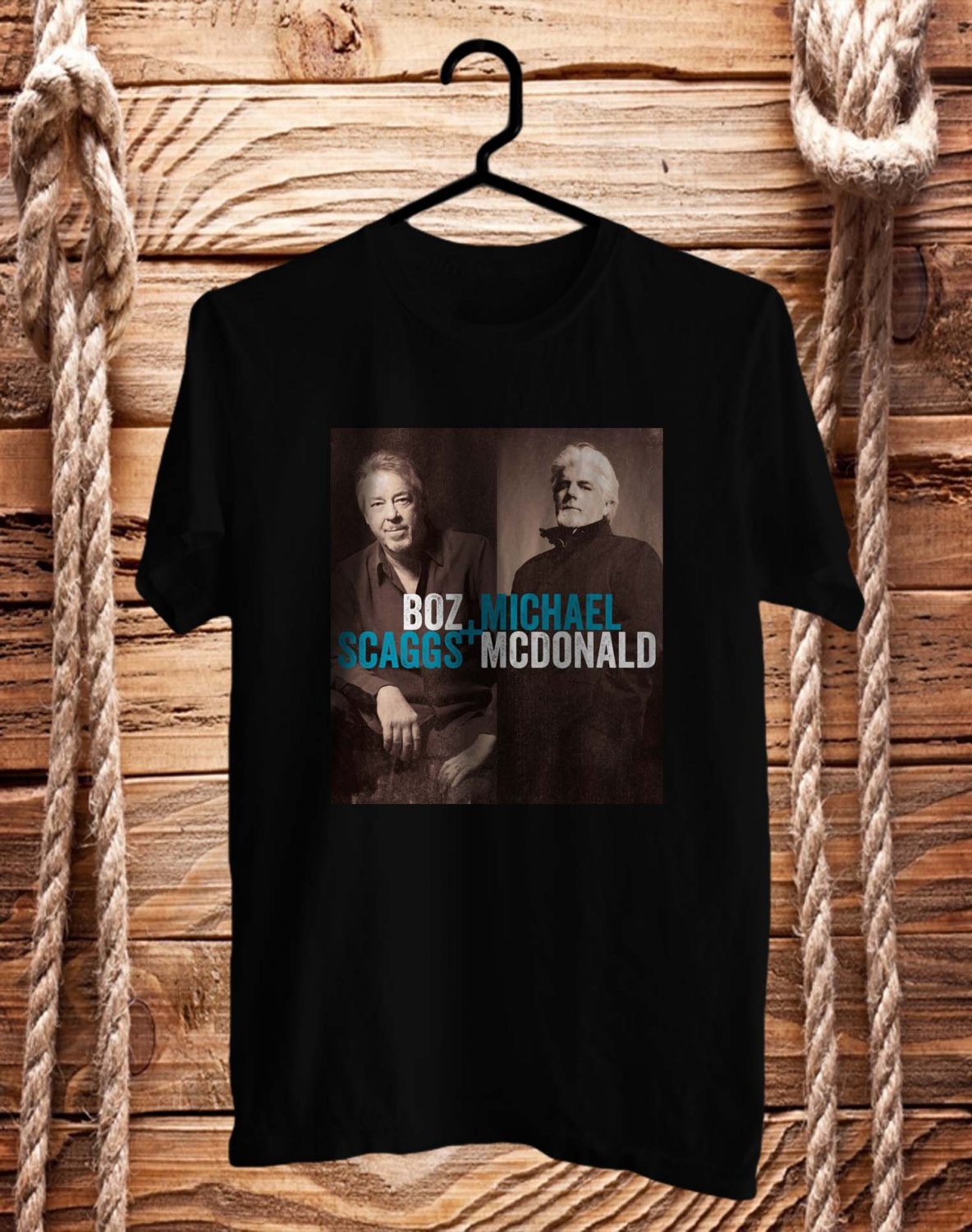 Bozz Scaggs & Michael McDonald tour 2017 Logo Black Tee's  Front Side by Complexart