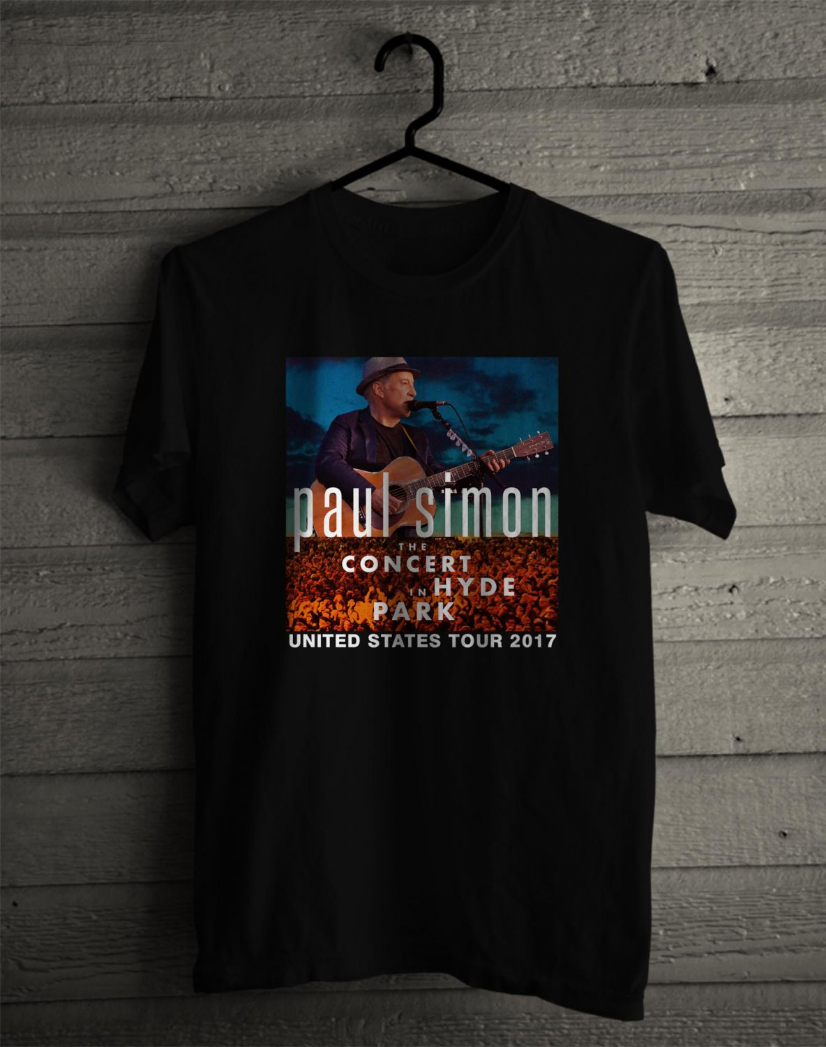 Paul Simons Concert In Hyde Park 2017 Black Tee's  Front Side by Complexart c1