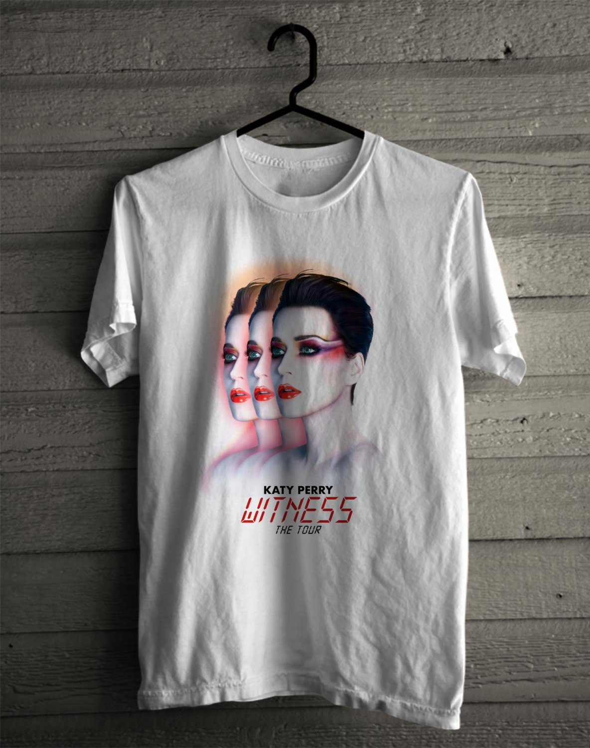 Katy Perry : Witness Tour 2017 White Tee's  Front Side by Complexart