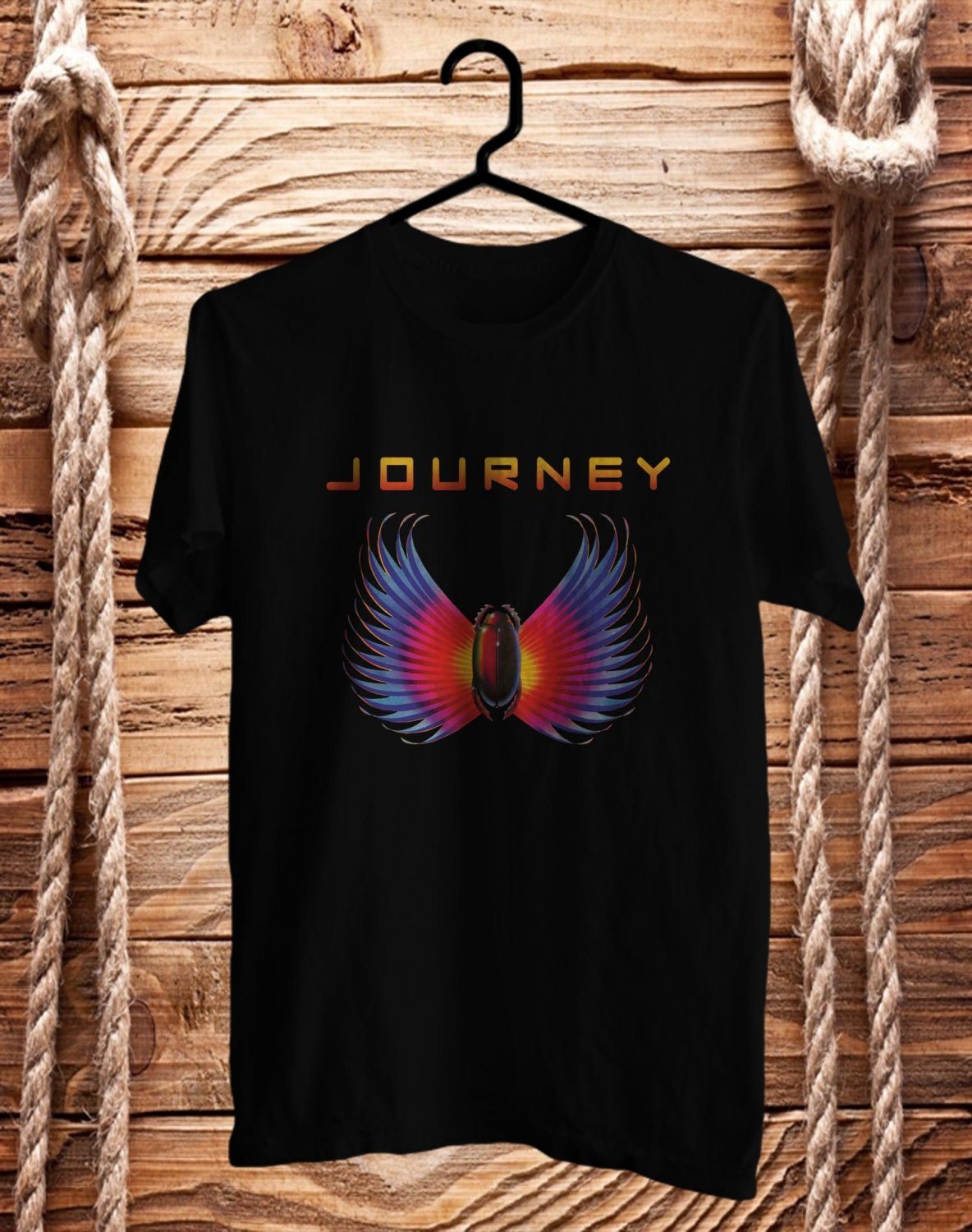 Journey Band logo BLack Tee's Front Side by Complexart