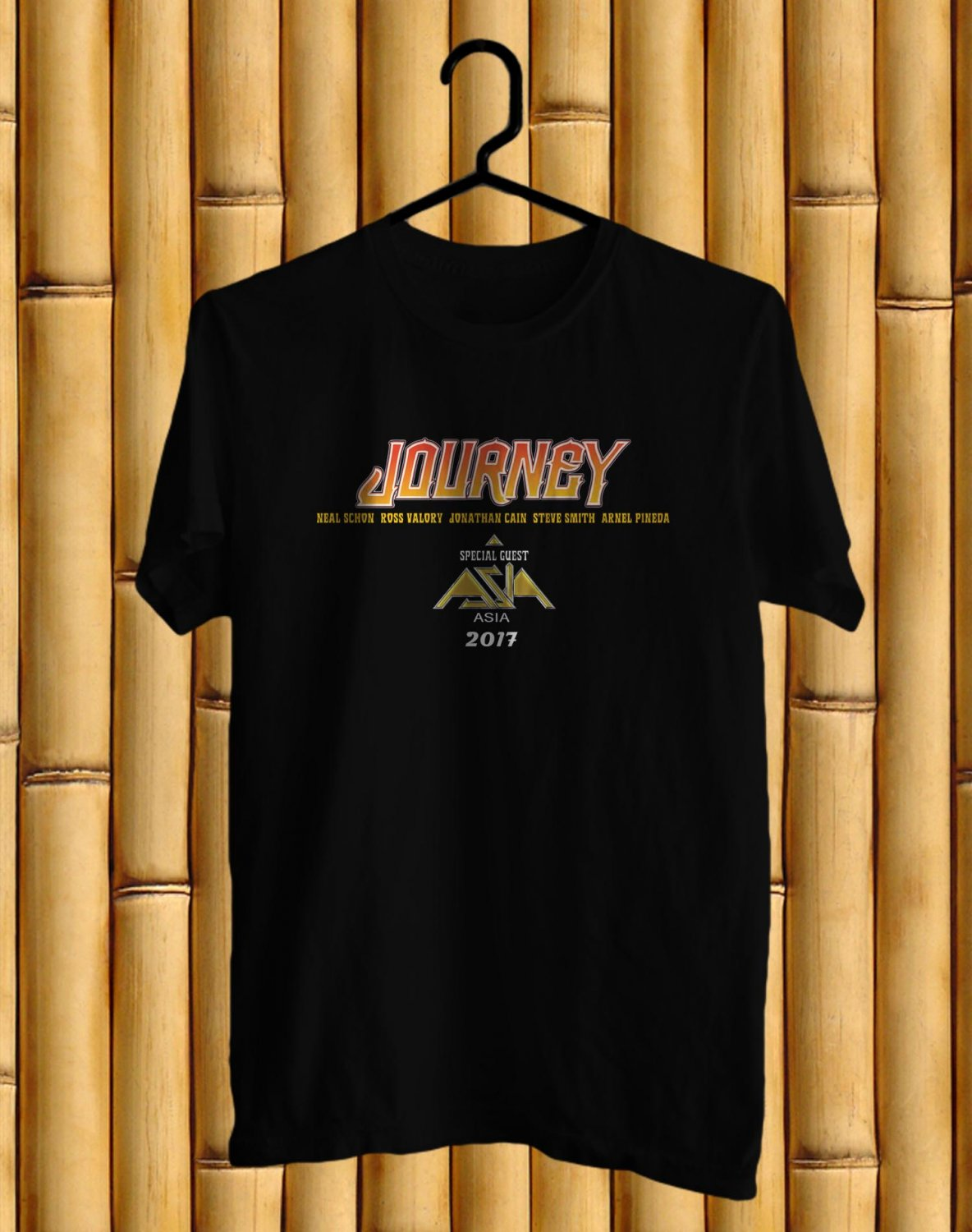 Journey and Asia Tour 2017 BLack Tee's Front Side by Complexart